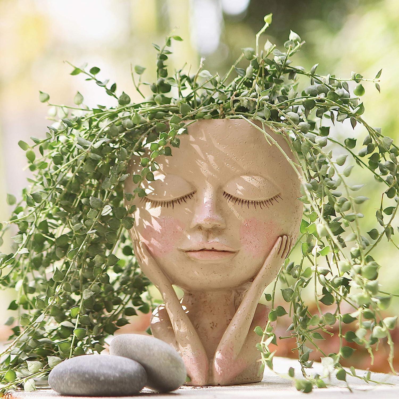 AIMEBBY Face Flower Pot Head Planter Pot Succulent Planter Cute Resin Cactus Planter with Drainage Hole Closed Eyes