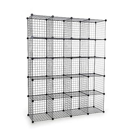 UNICOO   Multi Use DIY 20 Cube Wire Grid Organizer,Wardrobe Organizer,  Bookcase,