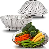 Bunkeflow Stainless Steel Vegetable Steamer Basket with Silicone Feet, Diameter 5.3 to 9.3 Inch