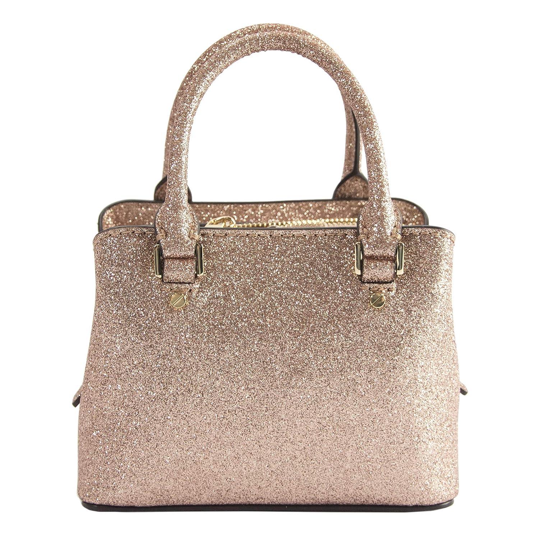 829df2b89555 Michael Kors Rose Gold Glitter Leather MICRO MINI Savannah Satchel Bag  Wallet  Handbags  Amazon.com