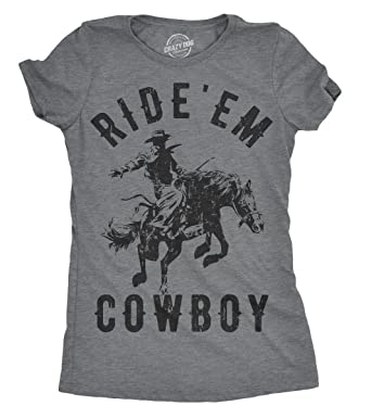 2e4bbff922c339 Womens Ride  Em Cowboy Tshirt Funny Western Tee for Ladies -S Dark Heather  Grey