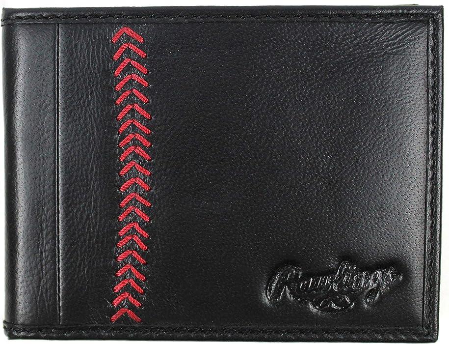 ed0bf719c019 Rawlings Leather Baseball Stitch Bifold - Black at Amazon Men's ...
