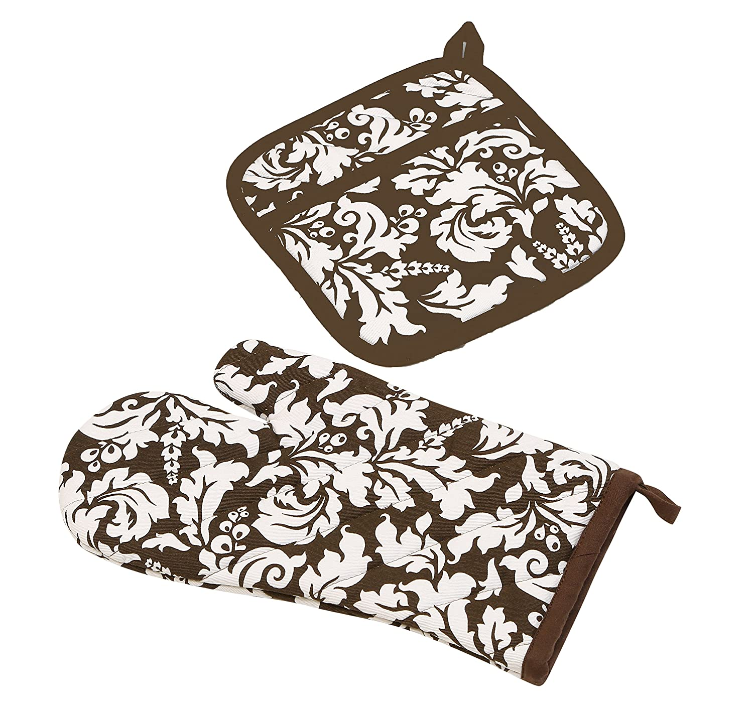 Yourtablecloth Set of Oven Mitt and Pot Holder or Oven Gloves – 100% Cotton, High Heat Resistance, Superior Protection & Comfort – Elegant Design – Machine Washable-Chocolate