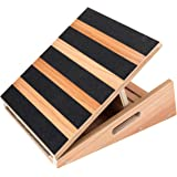 "NEW Model Professional Mid-Size Wooden Slant Board, Adjustable Incline Board and Calf Stretcher - Extra Side-Handle Design for Portability - 16"" X 12.5"", 5 Positions Stretch Board (350 lb Capacity)"