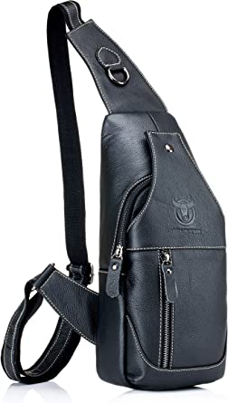 Color : Black, Size : M WHXYAA Mens Chest Bag Cowhide Bag Casual Leather Chest Bag Outdoor Sports Shoulder Messenger Bag