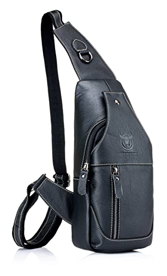 2f6c0b5708bc Men's Sling Bag Genuine Leather Chest Shoulder Backpack Cross Body Purse  Water Resistant Anti Theft