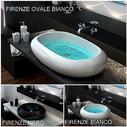 Lavabo da appoggio bagno ceramica circolare o ovale bianco design ...