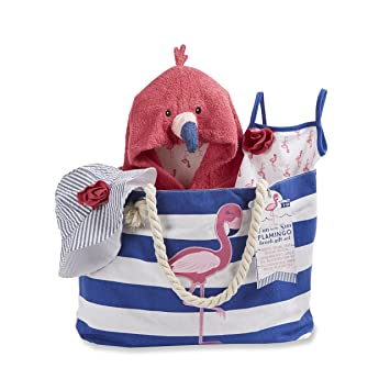 Amazon.com : Baby Aspen Flamingo 4 Piece Nautical Gift Set with Canvas Tote for Mom : Baby