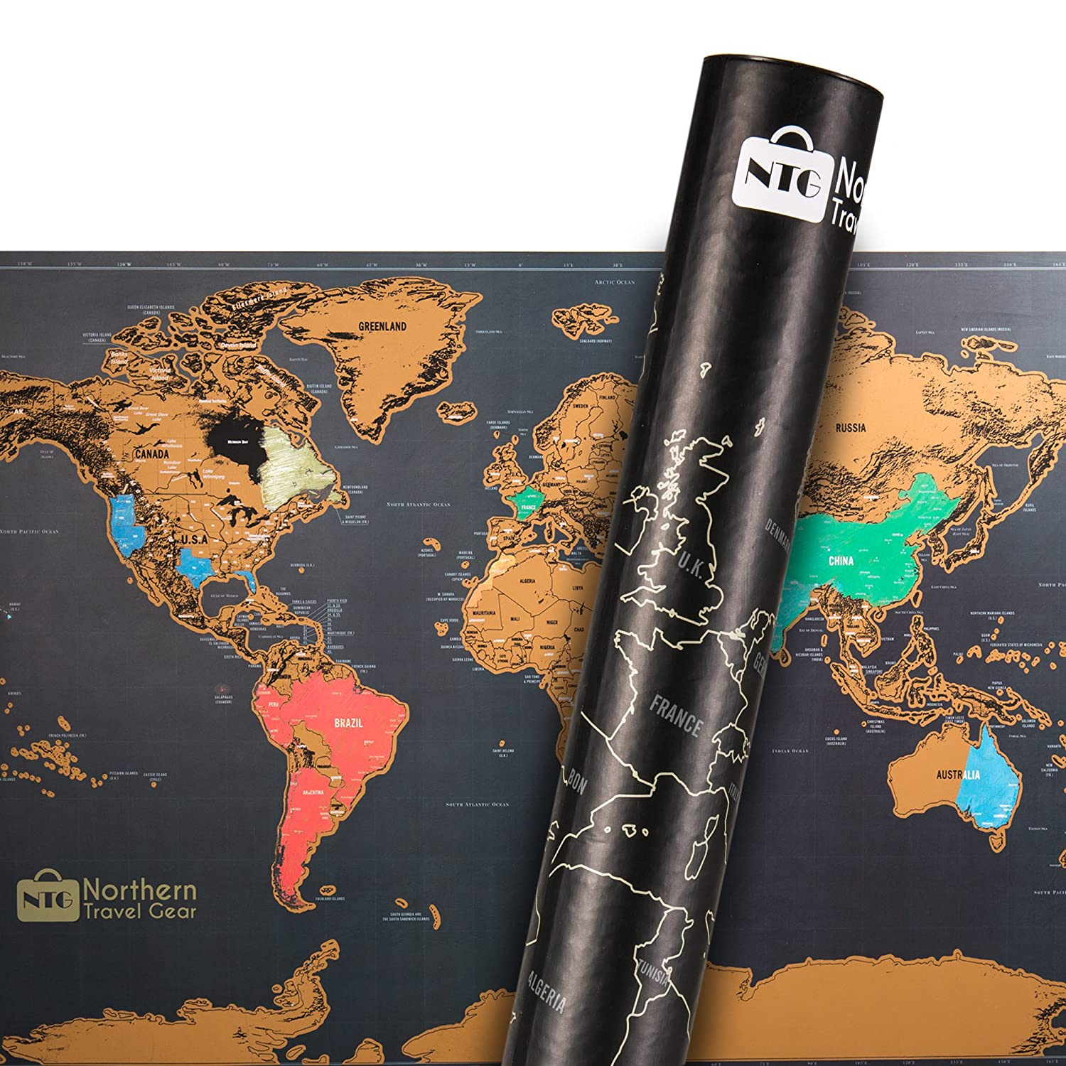 By Northern Travel Gear Gift Ready Tube Packaging Perfect Size To Frame Scratch Map Includes Bonus Precision Pen Scratch Off World Map