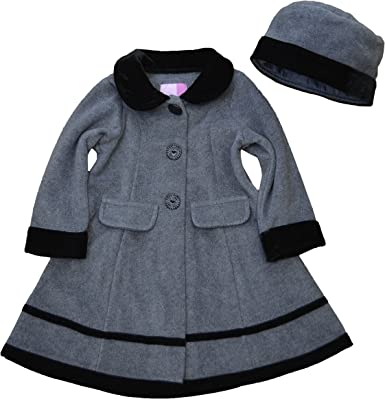 Good Lad 2//6X Girls Black Fleece Coat with Black Velvet Collar Bows,and Sleeves with Matching Hat