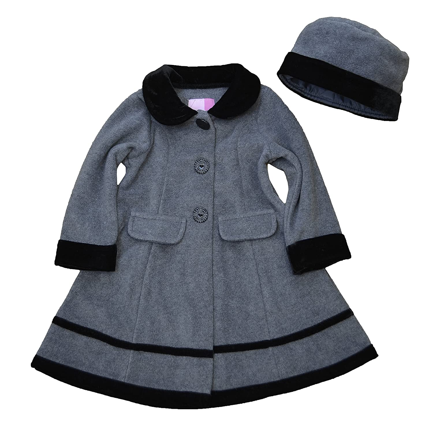Vintage Style Children's Clothing: Girls, Boys, Baby, Toddler Good Lad Grey Fleece coat w/ black velvet trim and Matching hat  AT vintagedancer.com