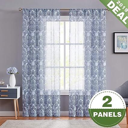 Amazon.com: ECODECOR Damask Blue Sheer Curtains 84 Inch Long White ...