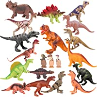 "Kids Toy 20 Packs Dinosaurs Play Set for Toddlers, Boys Educational Toy Realistic Looking 6"" to 10"" Assorted Dinosaur Figures with Baby Dinosaur Eggs, Kids Birthday Party Cake Topper and Gift Set"