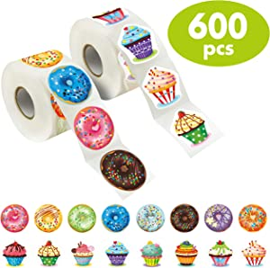 600 Pcs Cupcake Donut Party Decoration Teacher Reward Encouragement Motivational Sticker Mega Pack 16 Designs with Perforation Line (Each measures 1.5