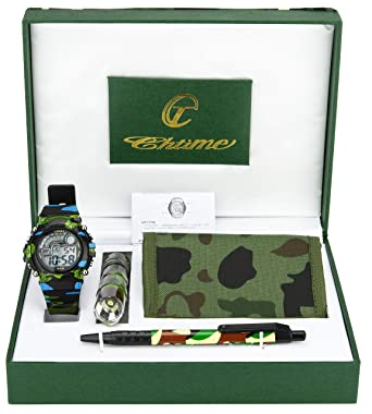 7abef7774c27 Gift Set Kid Teenager Watch Military Army Wallet Flaslight Pen Black Green  Christmas  Amazon.co.uk  Watches