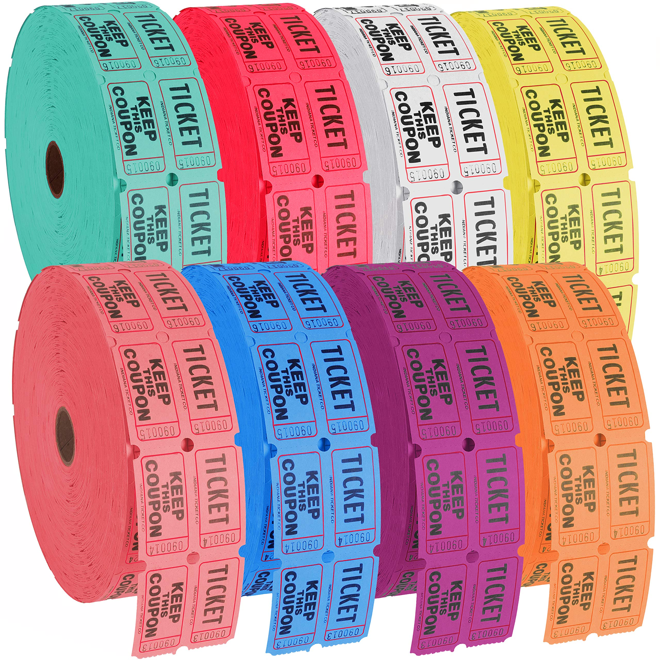Narwhal Novelties Raffle Tickets, 8-Tickets Roll of 2000 Double Tickets, (16,000) 50/50 Raffle, Carnival, Auction, Fundraiser, Bingo or Drink Tickets, Assorted Colors