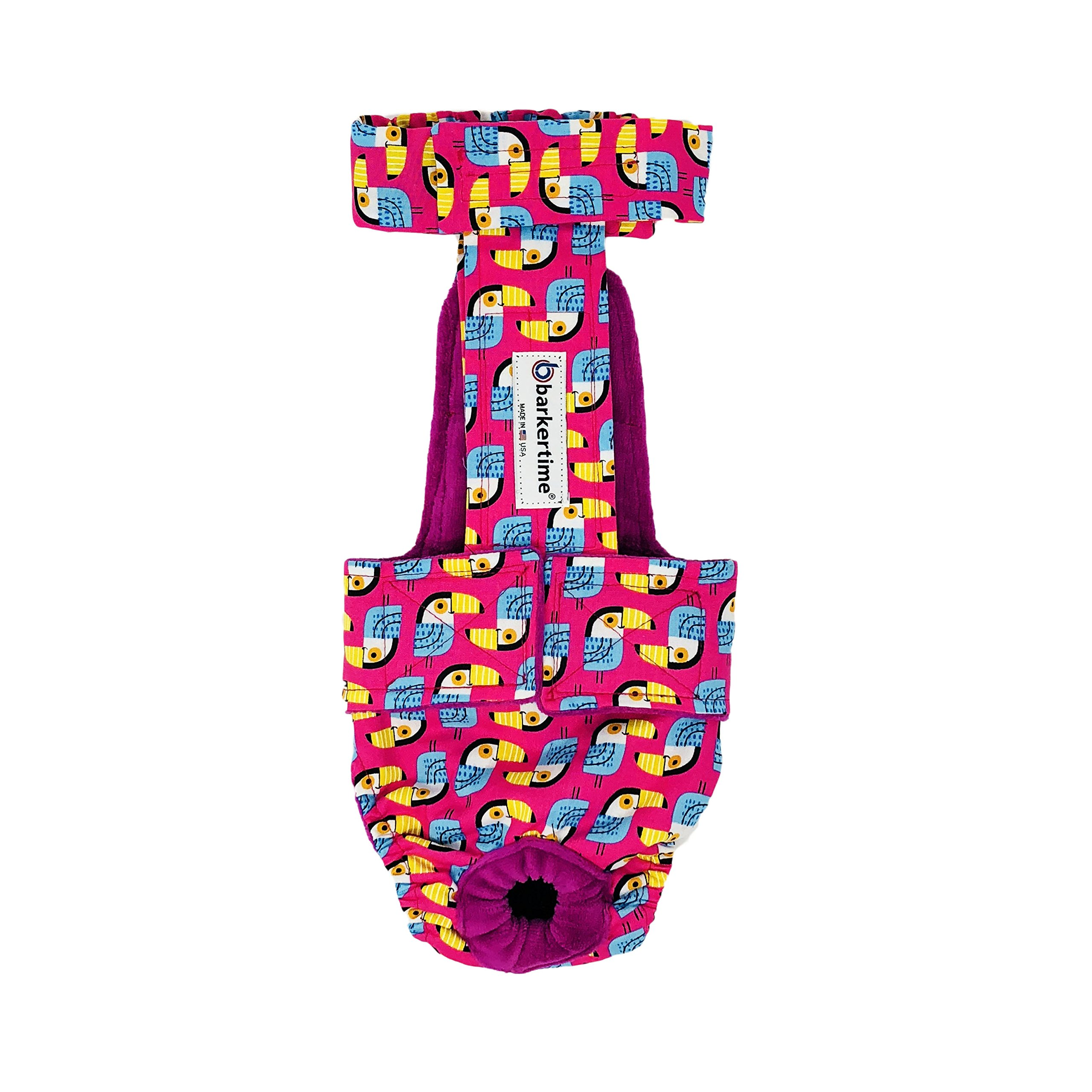 Dog Diaper Overall - Made in USA - Tucane on Pink Escape-Proof Washable Dog Diaper Overall, XXL, With Tail Hole for Dog Incontinence, Marking, Housetraining and Females in Heat