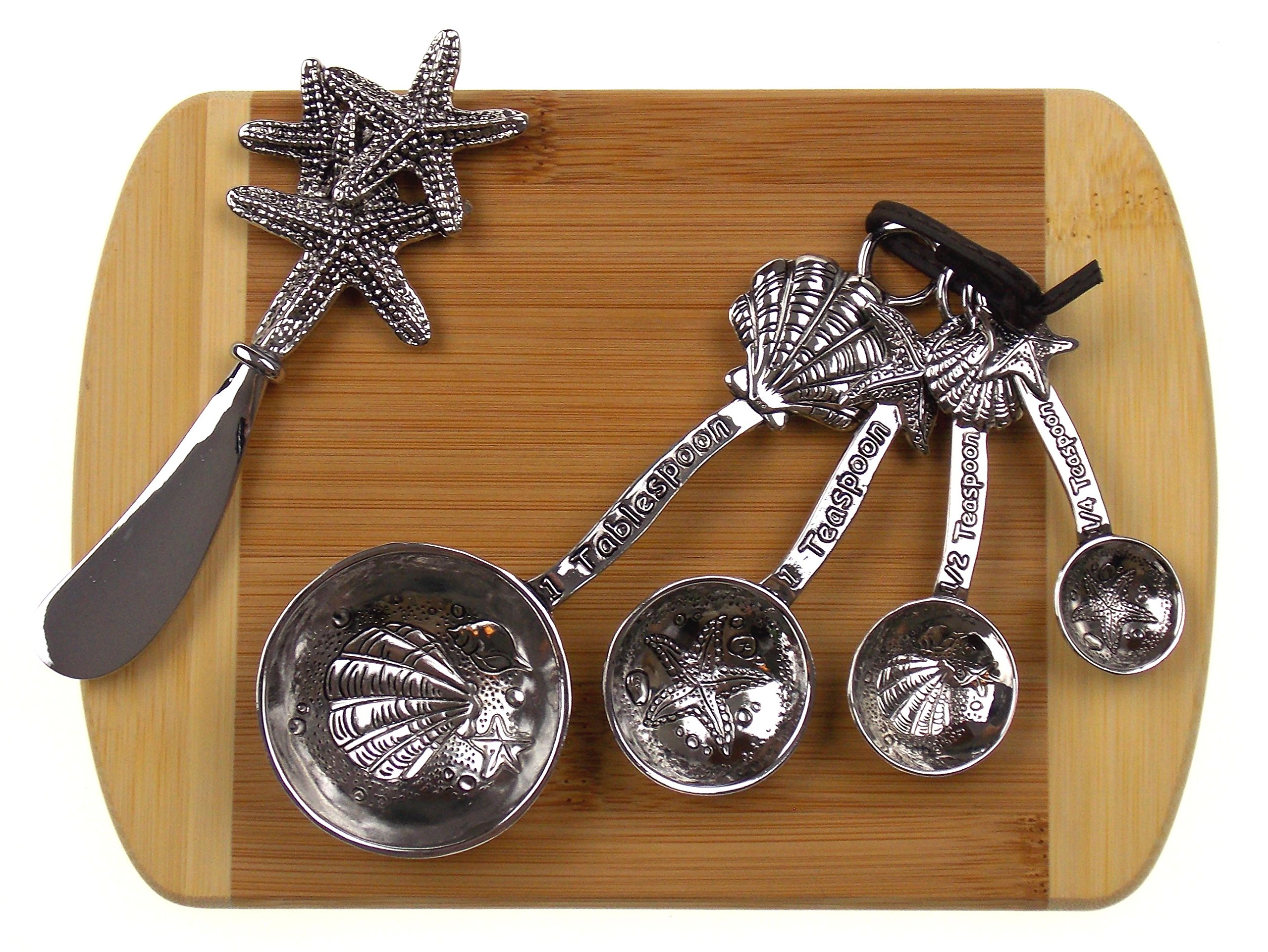 Starfish Cheese Spreader, Shells & Starfish Measuring Spoons Bundled with Bamboo Cheese Board by Hickoryville
