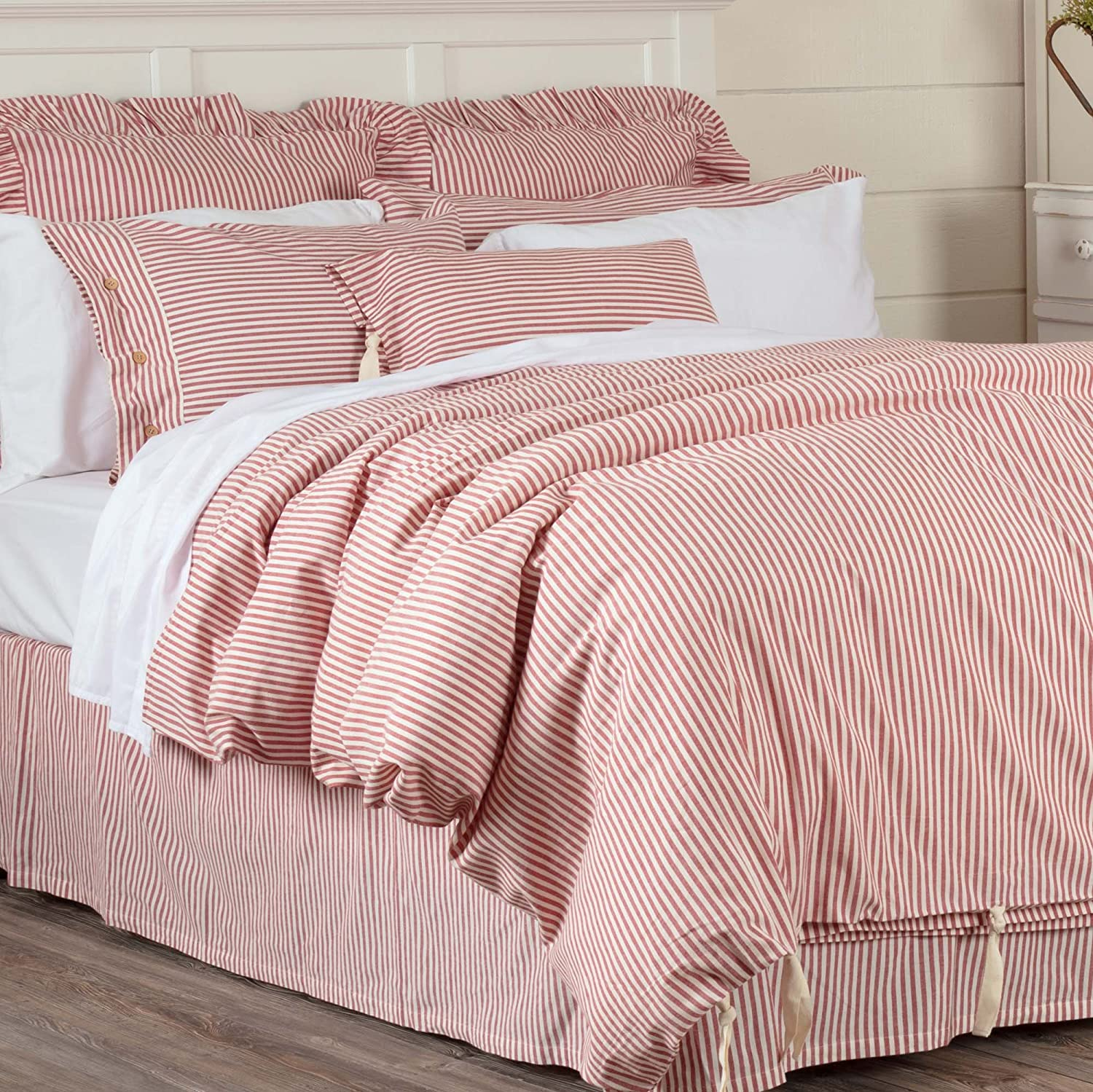 Piper Classics Farmhouse Ticking Stripe Duvet Cover Bedding, Red & Off-White, Queen 92x91, Comforter Cover w/Twill Ties, Soft, Comfortable, Farmhouse Bedroom Décor