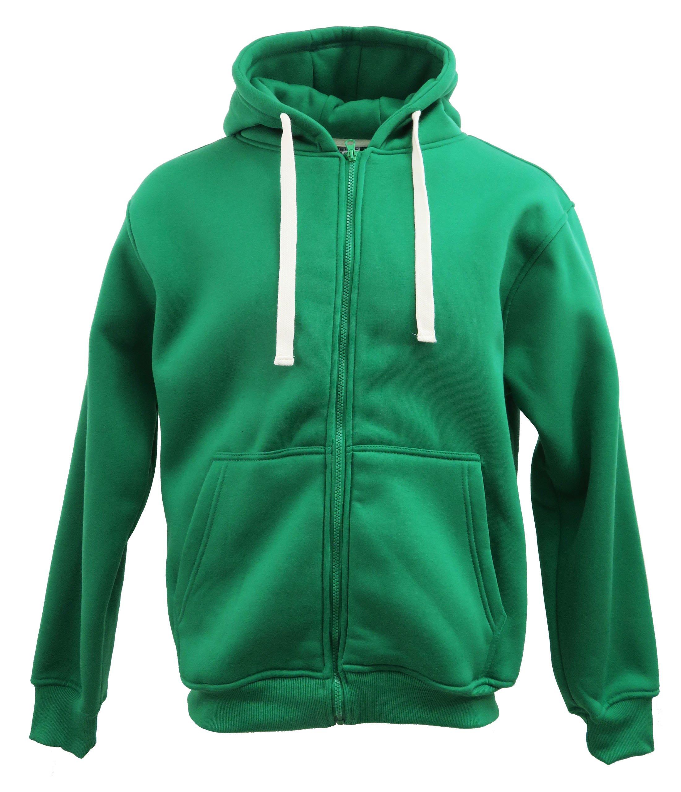 Henry & William Men's Basic Fleece Zip UP Hoody L Kelly Green