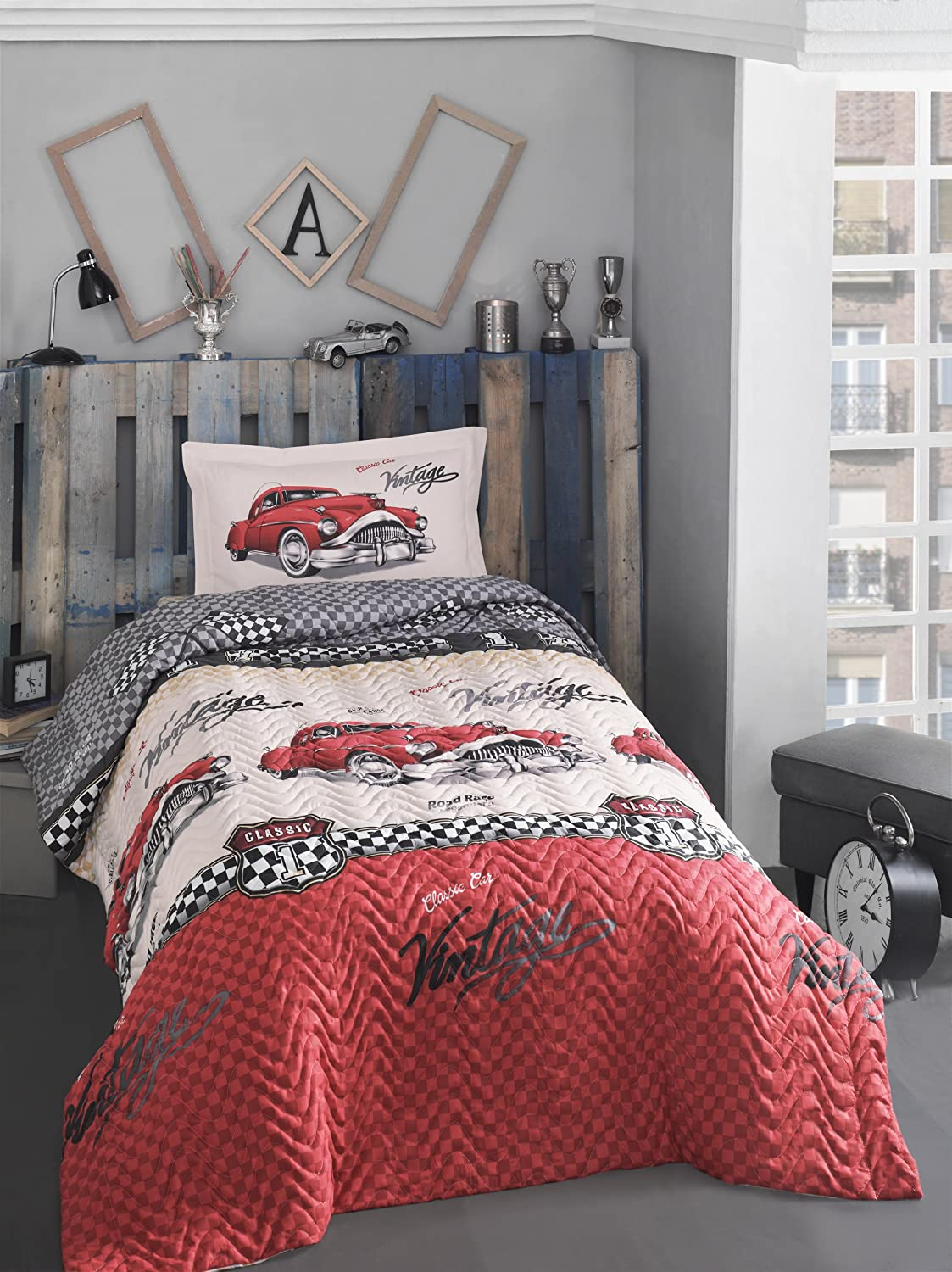 Classic Vintage Cars Bedding Set, 100% Cotton Full/Twin Size Multifunctional Four Season Boys Bedding Set, Quilted Bedspread/Duvet Cover Set, 3 PCS, Red& White Bekata
