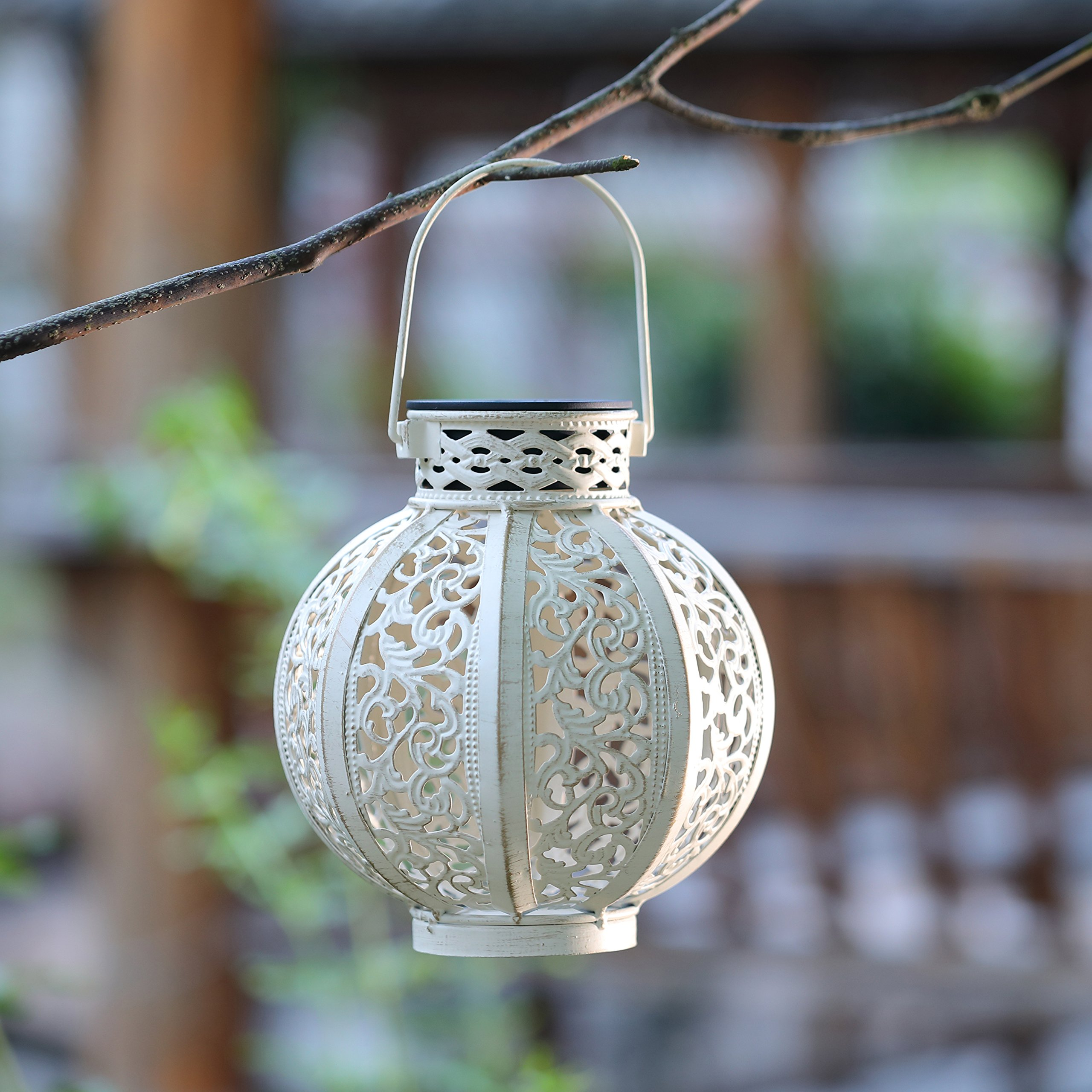Maggift 2 Pack Hanging Solar Lights Outdoor Solar Lights Retro Hanging Solar Lantern with Handle, 4 Lumens, White by Maggift (Image #3)