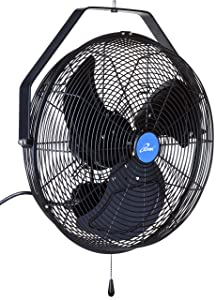 "iLIVING ILG8E18-15 Wall Mount Outdoor Waterproof Fan, 18"", Black"