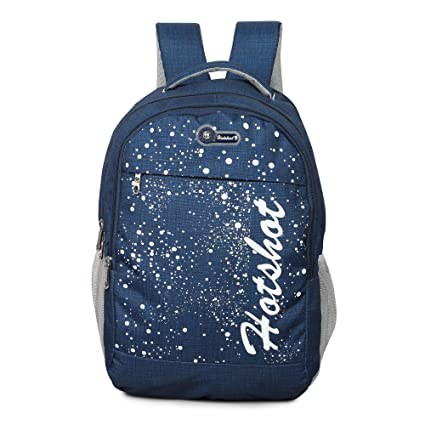 HOT SHOT Polyester 30 L Waterproof School College Tution Gym Casual  Backpack (Navy Blue and Grey)