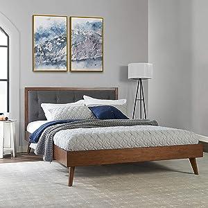 Linon Home Décor Marsden Queen Upholstered Bed Platform, Walnut