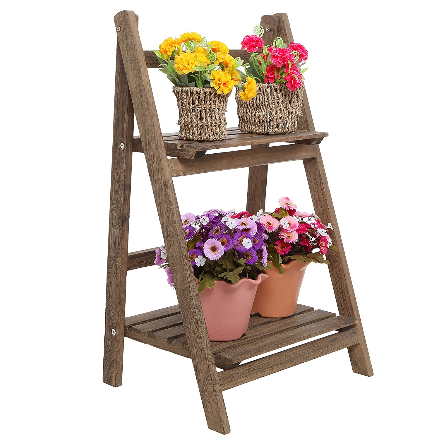 Rustic Brown Wood Design 2 Tier Freestanding Foldable Shelf Rack/Decorative Planter Pot Display Stand MyGift