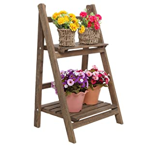 MyGift Rustic Brown Wood Design 2 Tier Freestanding Foldable Shelf Rack/Decorative Planter Pot Display Stand