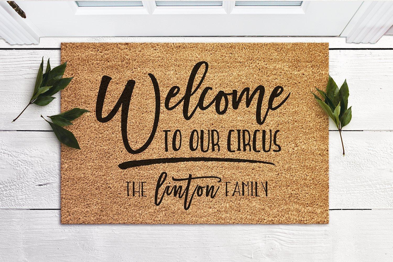 Funny Doormat Welcome to Our Circus Door Mat Housewarming Gift New Home Gift Personalized Doormat Coir Mat Outdoor Doormat Cute Doormat