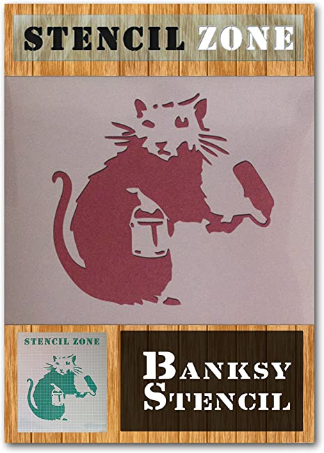 Banksy Rat Style Waste Drum Mylar Airbrush Painting Wall Art Crafts Stencil...