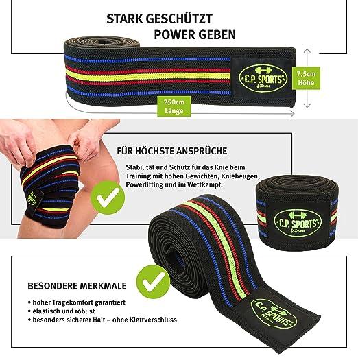 C.P. Sports Power Lifting de rodilla 250 cm extra de largo Negro Azul de  color rojo de amarillo KDK c1e29f5594c45