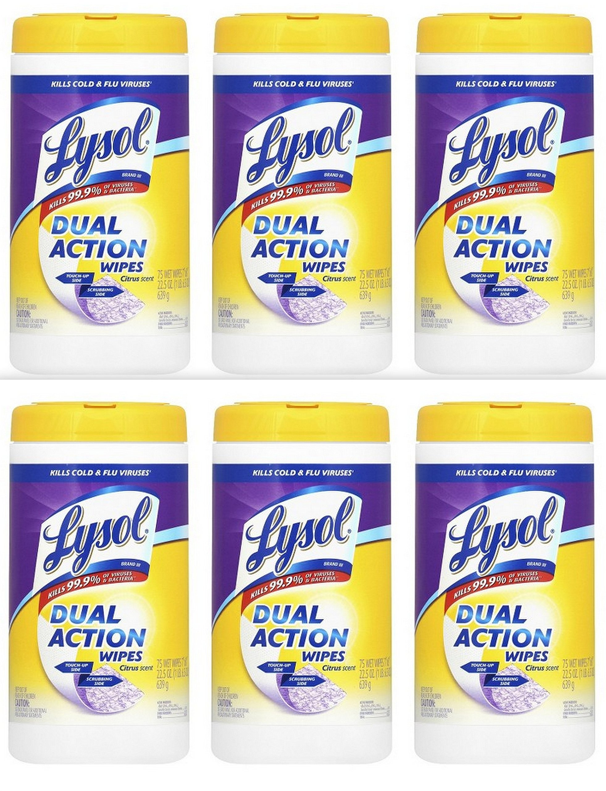 Lysol Dual Action Complete Clean, Disinfecting Wipes, Citrus, 450 Count (6 Pack)