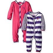 U.S. Polo Assn. Baby Girls' 2 Pack Long Sleeve Sleepers Or Play Rompers, Pink Peak 3-6 Months
