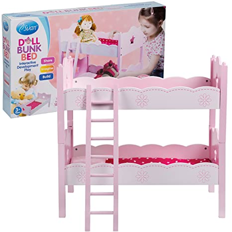 Amazon Com Svan Wooden Doll Bunk Bed And Bedding Fits American