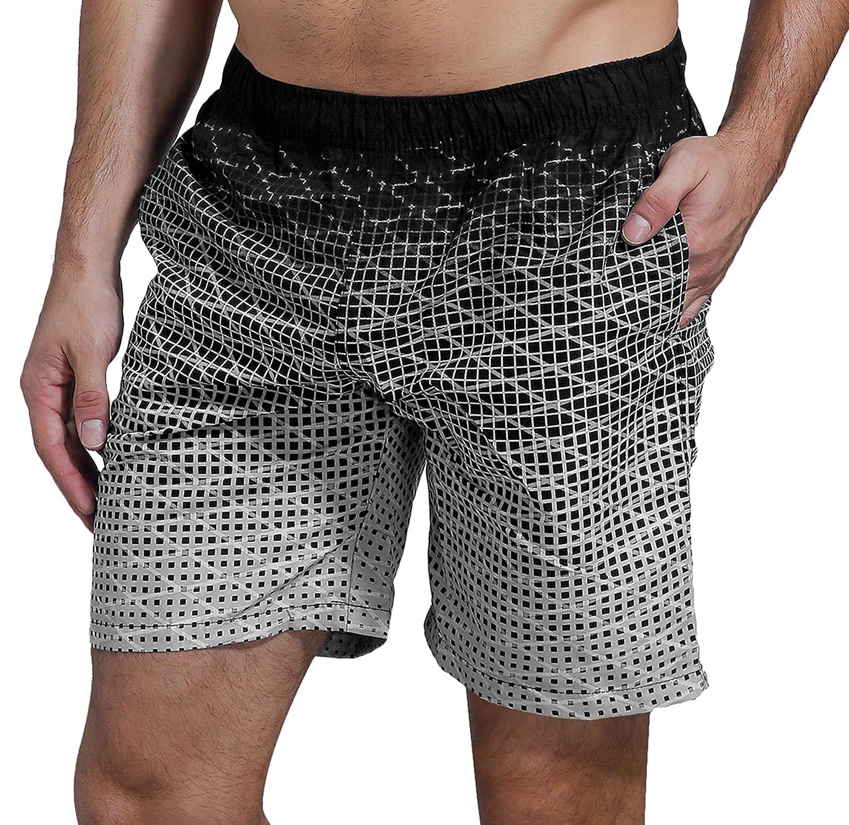 SHEKINI Hombre Bañador de Natación Pantalones Cortos Baño Rápido Seco Pantalones con Bolsillos para Hombre de Playa, Piscina y Parque Acuático, o para Deporte de Aire Libre