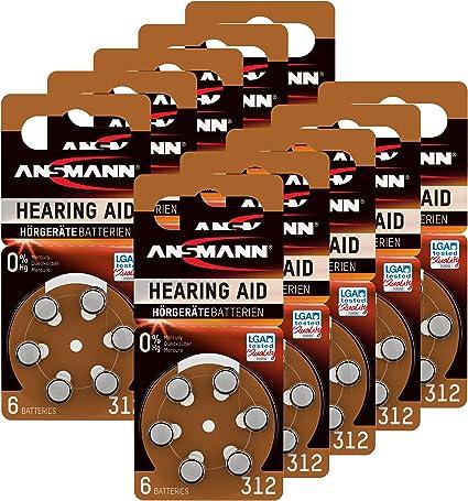 Ansmann Hörgerätebatterien 312 Braun 60 Stück Zink Amazon De Elektronik