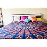 Folkulture Floral Fiesta Mandala Cotton Bedsheet for Double Bed without Pillow Cover, Indian Queen Size Tapestry Bedspread