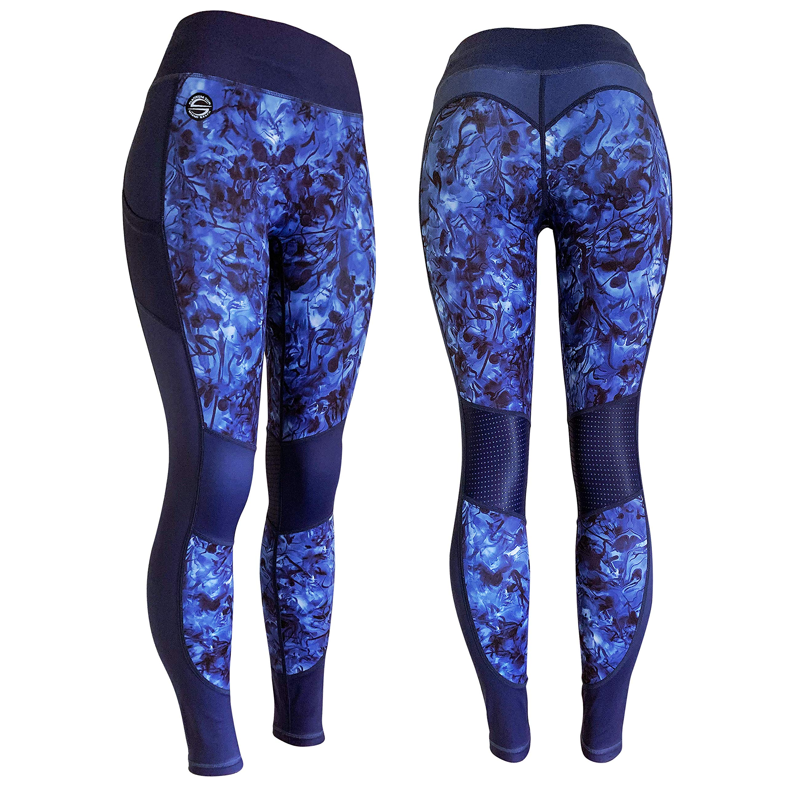 Platinum Sun Marble Capris Leggings for Women with Printed Design UPF 50+ (Royal Blue - Medium) by Platinum Sun