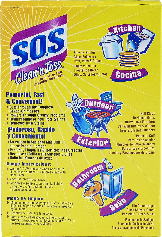 SOS Clean n Toss Steel Wool Soap Pads, 15 Count (Pack of 6)