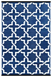 Green Decore Outdoor/Light Weight/Reversible Eco Plastic Rug - Serene (6 x 9, True Blue/White)