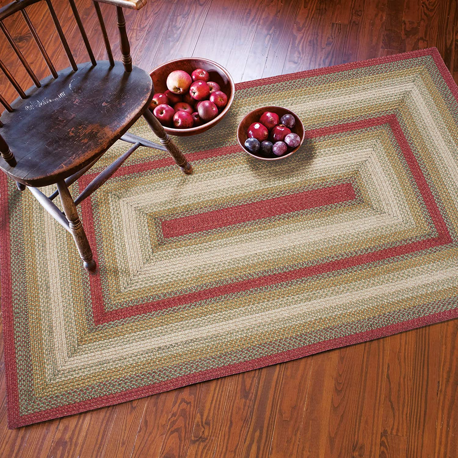 Aberdeen Premium Jute Braided Area Rug by Homespice, 27 x 45 Rectangle Red - Tan - Green, Reversible and Durable, Natural Jute Yarn Rustic, Farmhouse, Primitive Style - 30 Day Risk Free Purchase