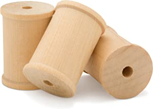 2 x 1.5 Inch Large Unfinished Wood Spools - Pack of 12 Barrel Shaped Spools, Splinter Free by Woodpeckers