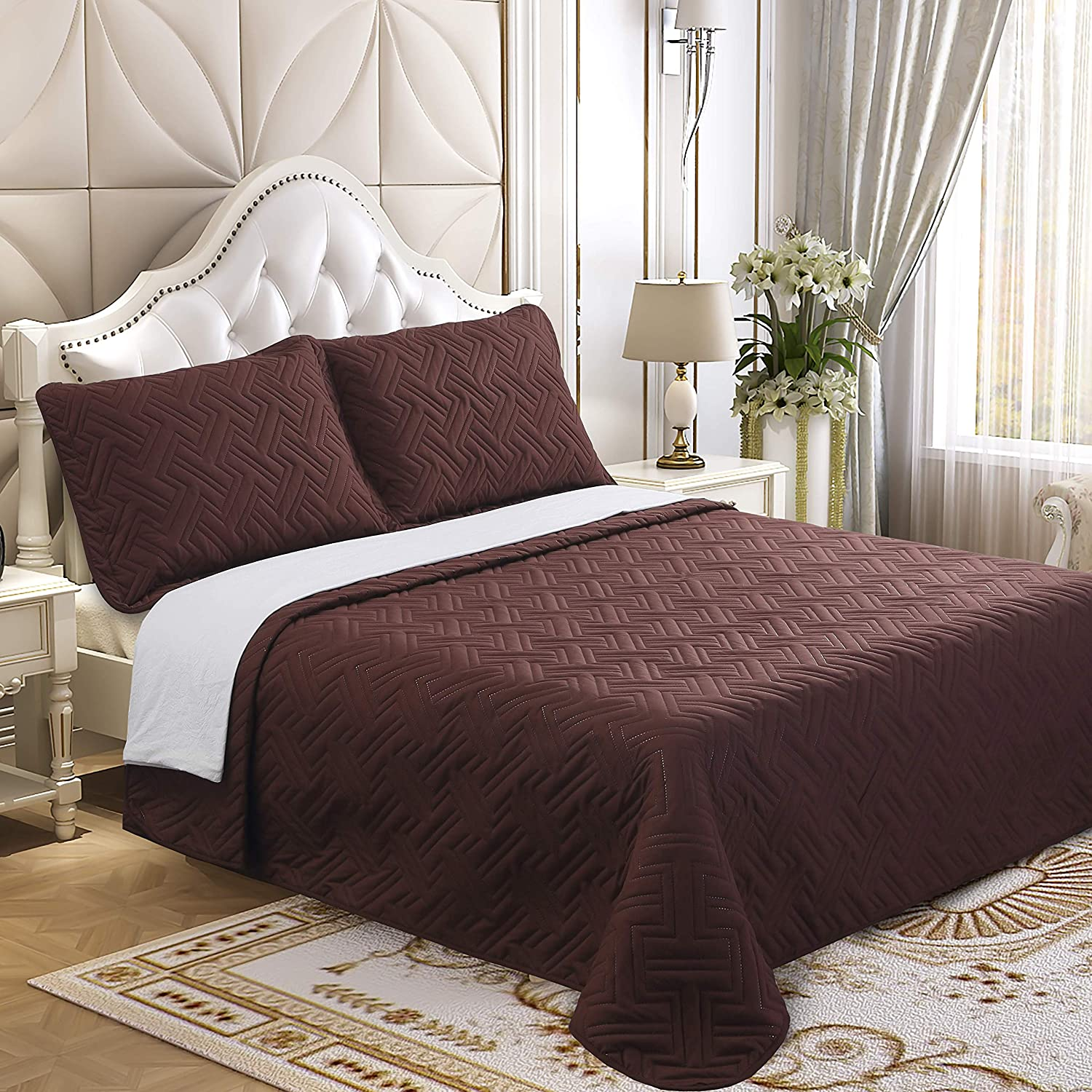 Lorient Home Brushed Microfiber Embossed 2 Piece Twin Lightweight Quilt Set for Coverlet or Blanket Chocolate Bedding, Multi