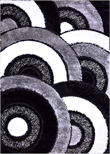 RugStylesOnline Royal Collection Black Gray White Abstract Circles Contemporary Design Shaggy Area Rug 6051 3 3 x7 Runner