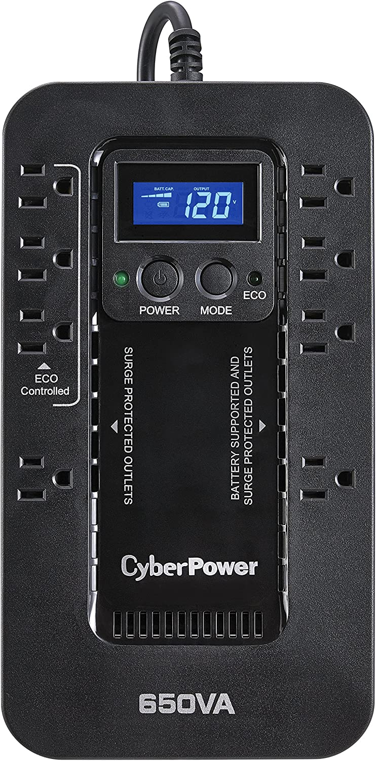CyberPower EC650LCD Ecologic UPS System, 650VA/390W, 8 Outlets, ECO Mode, Compact