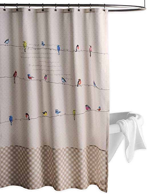 Amazon Com Maison D Hermine Birdies On Wire 100 Cotton Shower Curtain With 12 Button Holes 72 X72 Furniture Decor