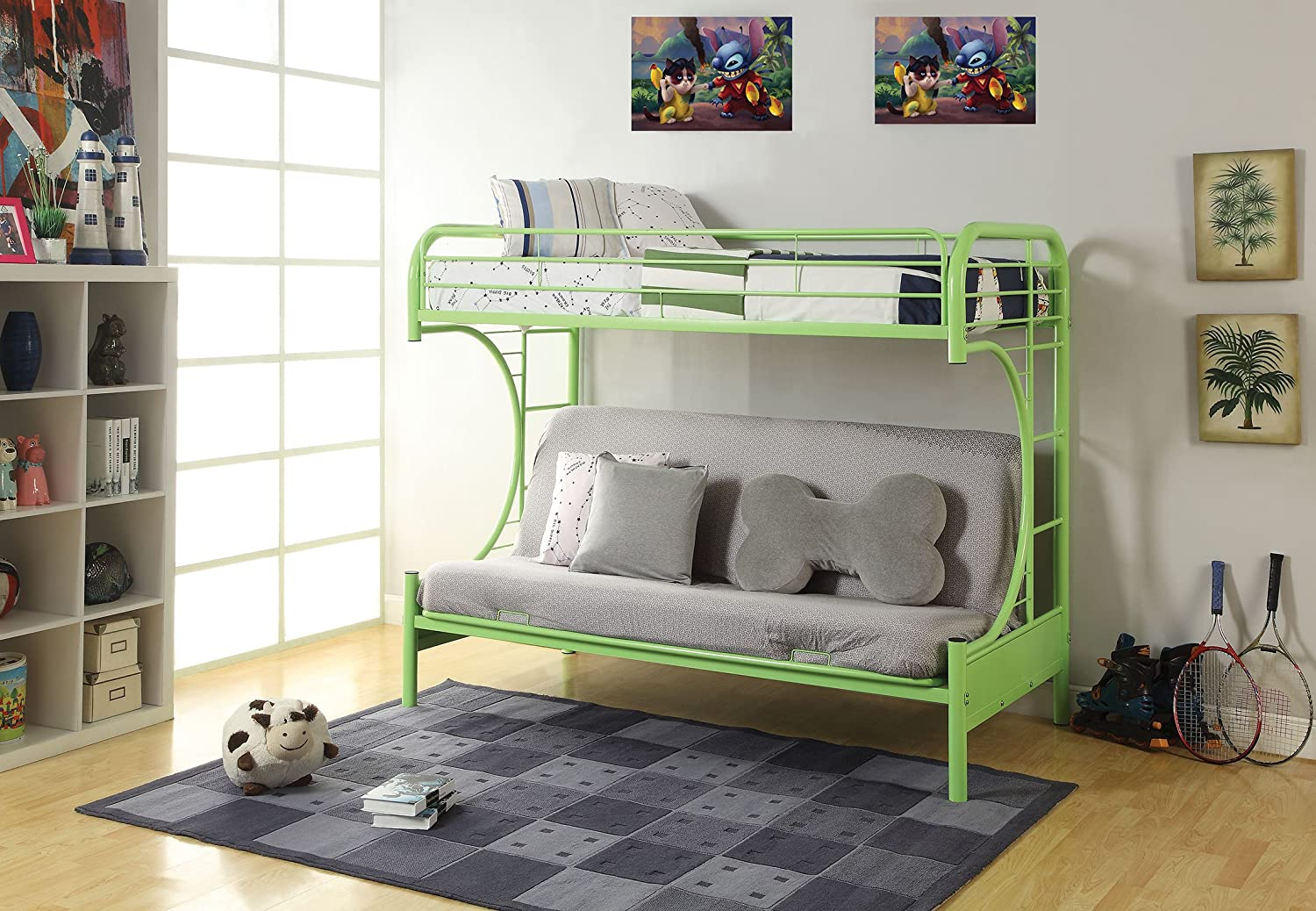 amazoncom acme furniture 02091wgr eclipse futon bunk bed twinfull green kitchen u0026 dining